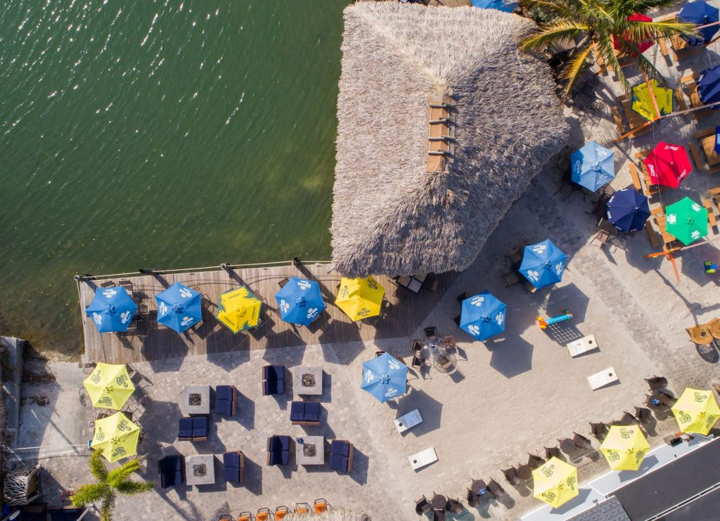 aerial shot of SandBar showing water and outdoor seating