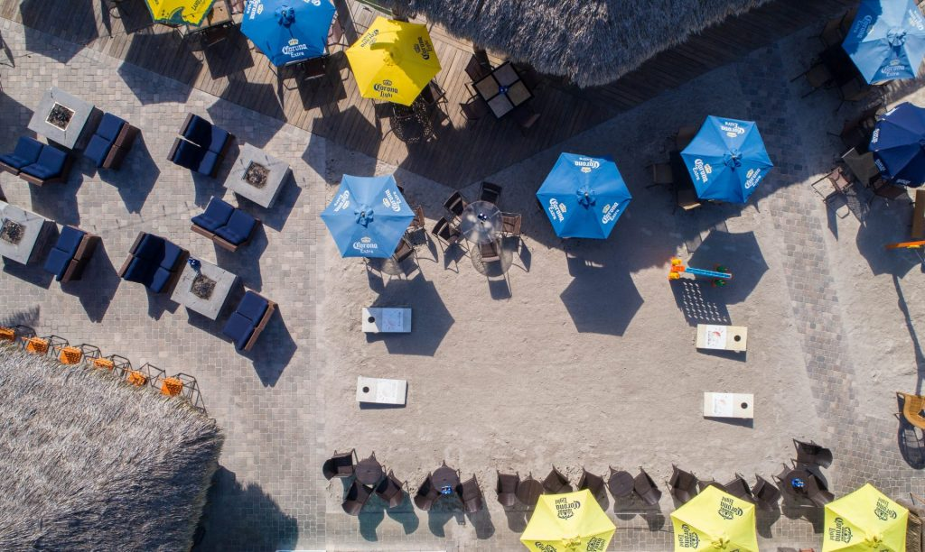 aerial shot of SandBar showing outdoor seating, fire pits and games