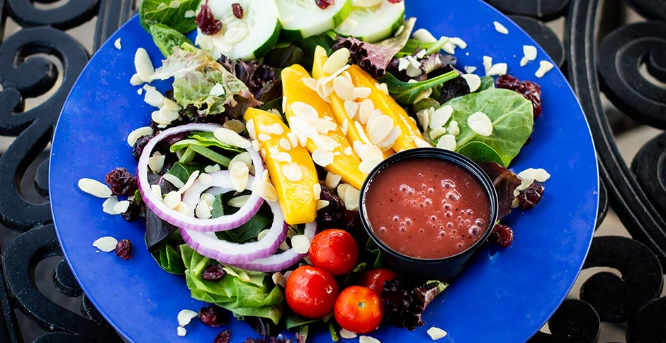 salad with spring mixed greens topped with cherry tomatoes, cucumbers, red onions and mango slices. Sprinkled with sliced almonds and craisins.