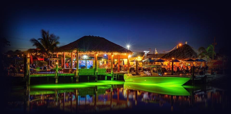 Water Night View at Sandbar's Tiki Bar