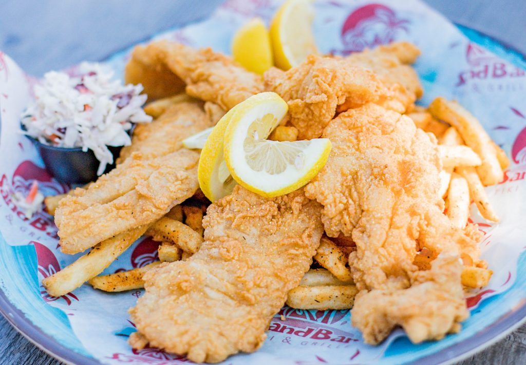 fried grouper, fries and cole slaw