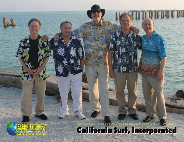 Group shot of California Surf band at shore