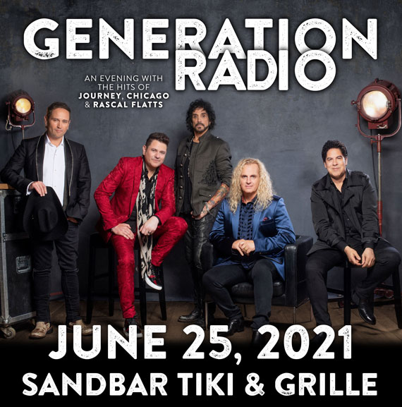 Generation Radio Flyer for June 25, 2021 concert at Sandbar tiki & grille, showing band photo of the 5 male members